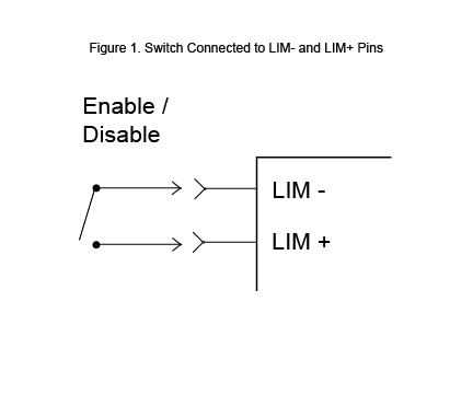 Switch connected to LIM- and LIM+ pins