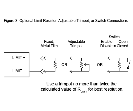 Optional Limit Resistor, Adjustable Trimpot, or Switch Connections