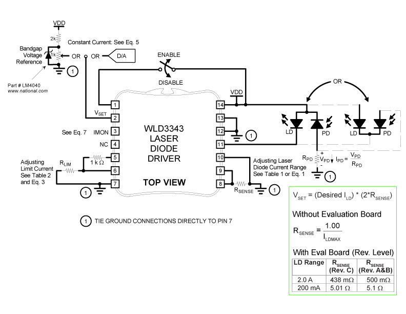 Circuit Diagram Example: WLD3343 in Constant Current mode with a Type A/B Laser Diode (Top View)