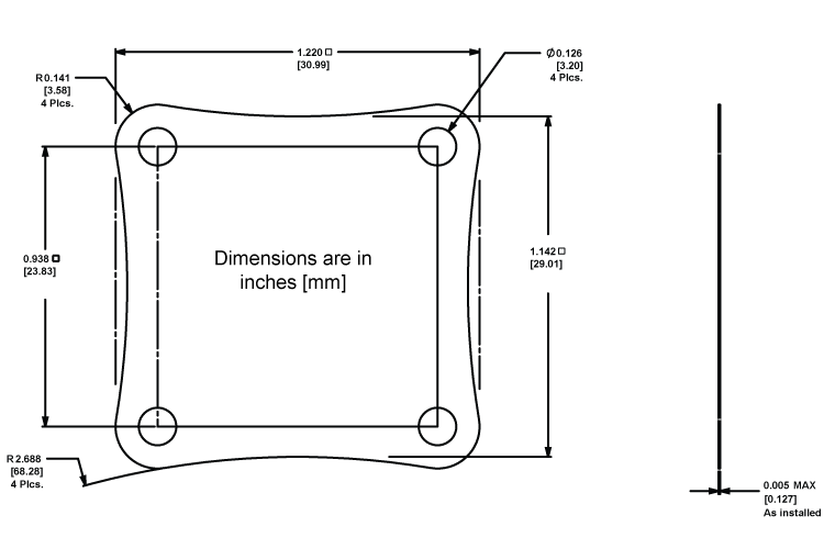 WTW002 Thermal Washer Dimensions